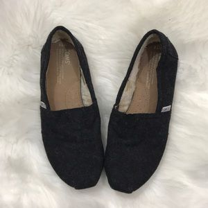 Toms Wool Shearling Flats 7.5 Gray